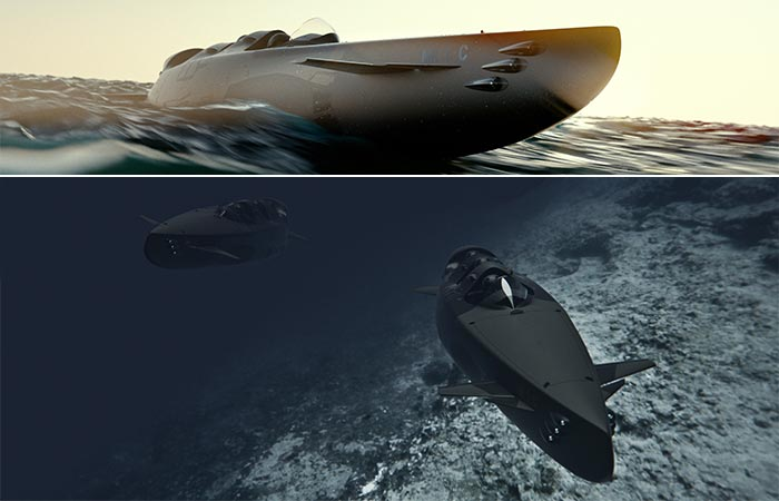 Ortega Submersibles above and underwater