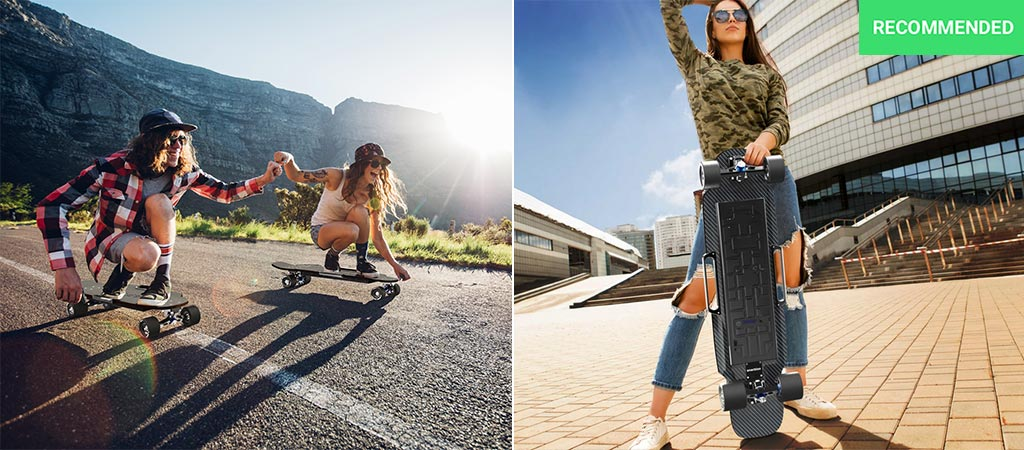 Two people cruising downhill on the Raptor 2. Also, a photo of a woman holding the Raptor 2.