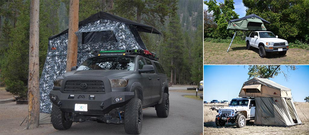 Views of the Tenpui Autana Ruggedized, Siberian Camo, and Sky tents