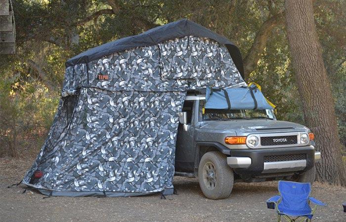 Tepui Siberian Camo tent on a Jeep