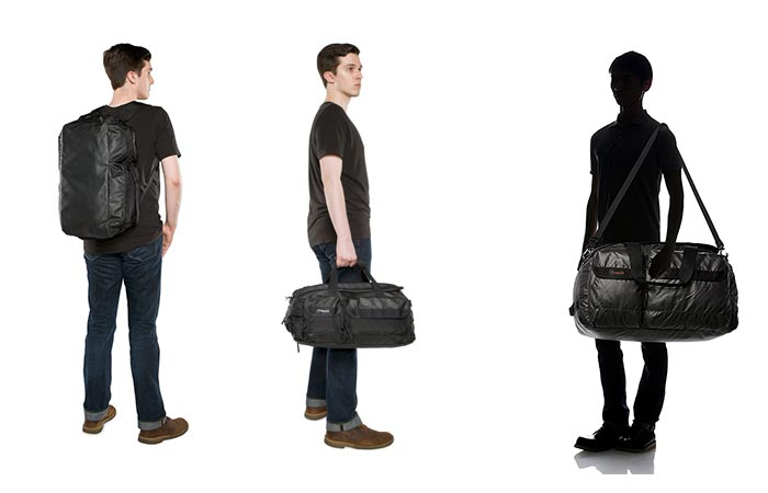 Timbuk2 Navigator Duffel being carried in different ways.
