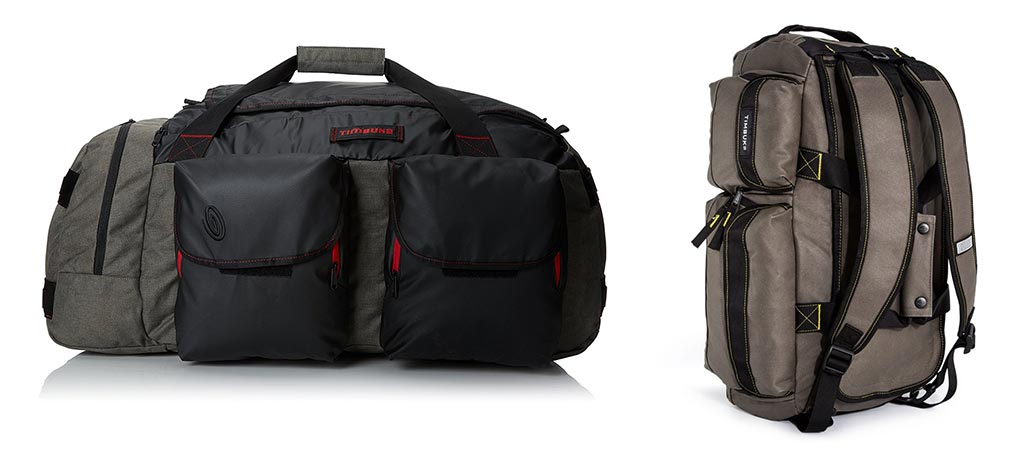 Timbuk2 Navigator Duffel bag in duffel mode and backpack mode. Backpack mode is Army Acid color and duffel mode is Carbon.
