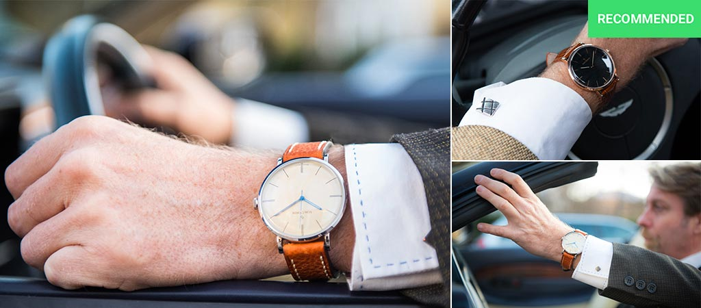 Three different views of watches in the Von Doren collection being worn by a man in a car