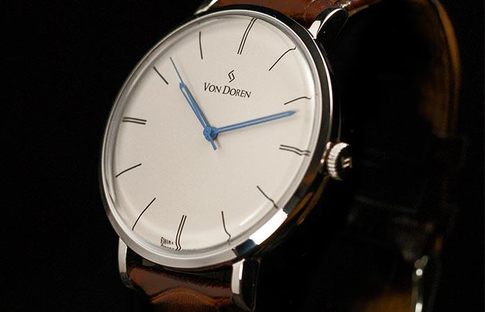 Von Doren watch with white dial and blue hands
