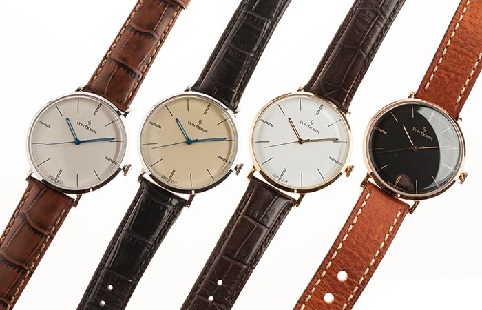 The four different color combinations that can be found in the Von Doren watch collection