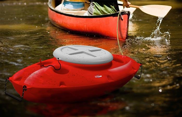 red CreekKooler being towed by a kayak