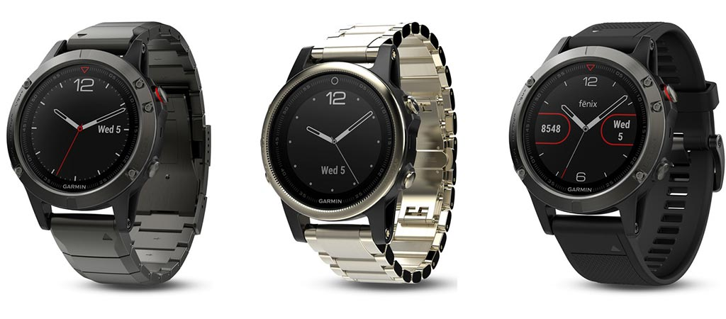 Three different watches in the Garmin Fenix 5 Smartwatch Series
