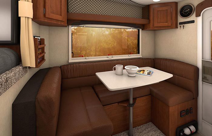 Inside of the Hellwig 2016 Nissan Titan XD Sema Build Lance Camper