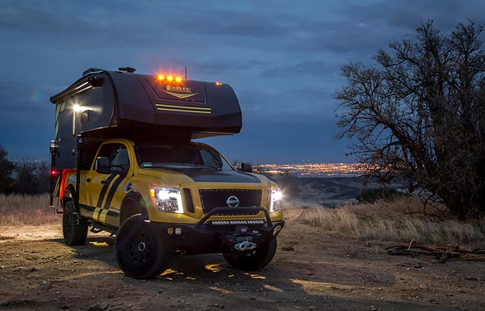 Hellwig 2016 Nissan Titan XD Sema Build at night