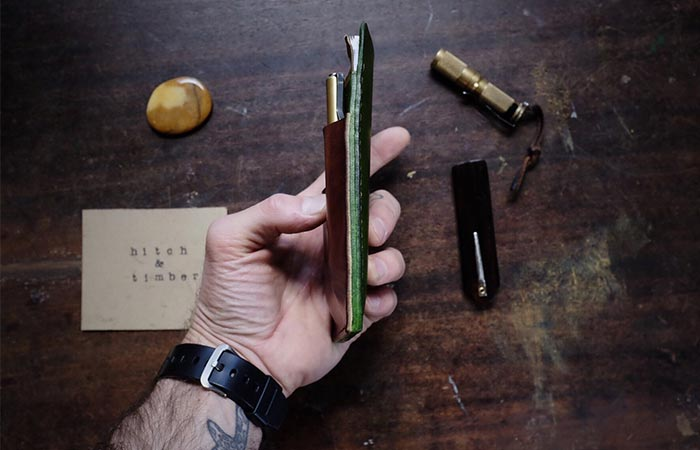 holding Hitch And Timber Leather EDC Notebook Holder