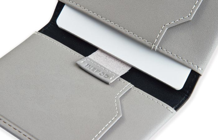 Ikepod Super Slim Men's Leather Wallet open in grey
