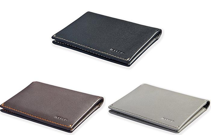 The three different colors of the Ikepod Super Slim Men's Leather Wallet