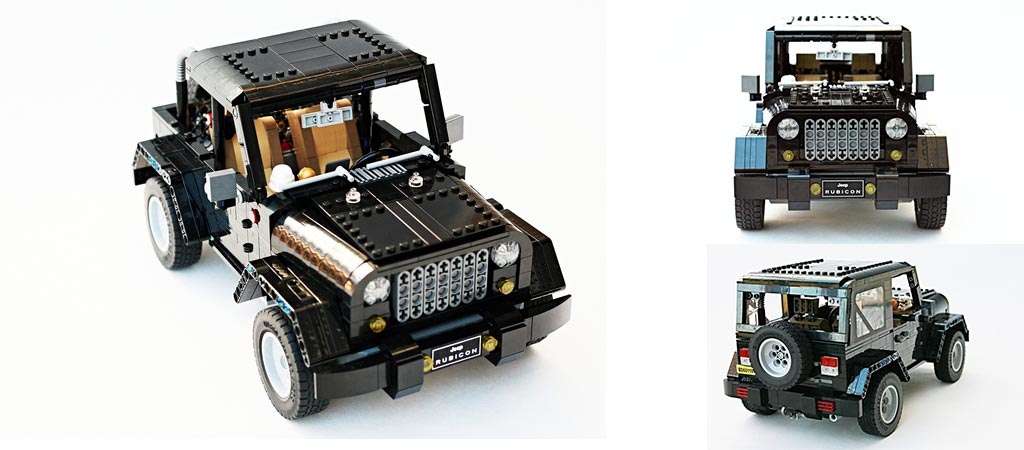 Three different views of the LEGO Jeep Wrangler Rubicon