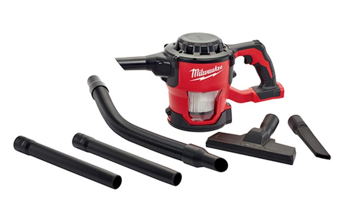 Milwaukee M18 Compact Cordless Vacuum Cleaner with all of its attachments