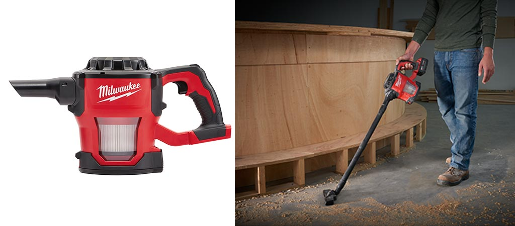 Milwaukee M18 Compact Cordless Vacuum Cleaner by itself and a picture of a man using it to clean up