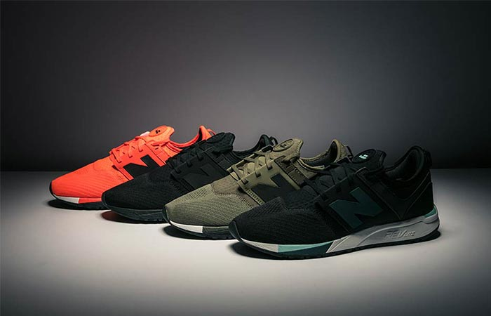 four colors of new balance 247 sport shoes