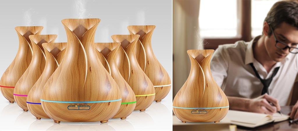 NexGadget Ultrasonic Wood Grain Aromatherapy Diffuser