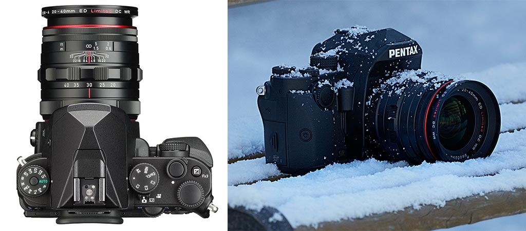 Pentax KP top view and a picture of it in the snow
