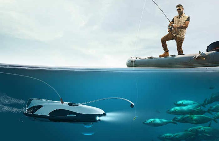 PowerRay Underwater Robot being used by man to catch fish