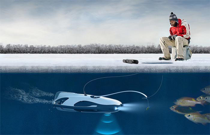 PowerRay Underwater Robot being used for ice fishing