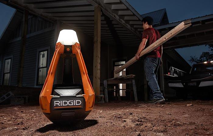 RidGid GEN5X Hybrid Upright Area Light in a workspace