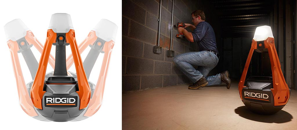 A picture of the RidGid GEN5X Hybrid Upright Area Light wobbling and a picture of a man using it while working.