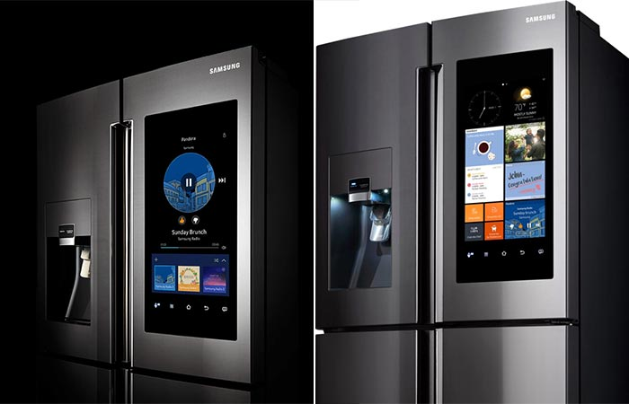 Two different views of the Samsung Family Hub 2.0 Refrigerator