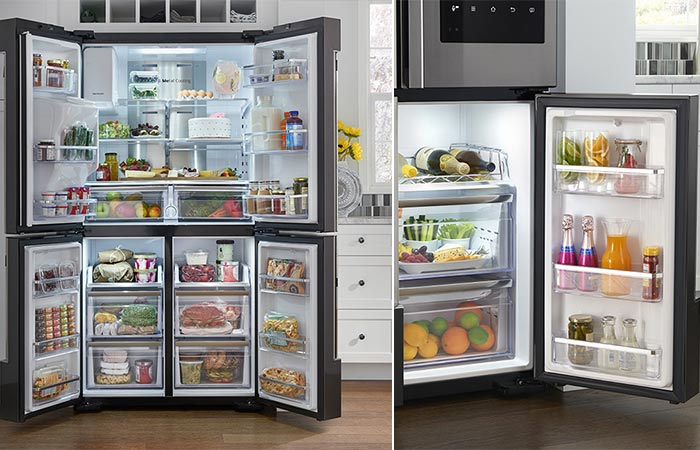 Samsung Family Hub 2.0 Refrigerator with open doors