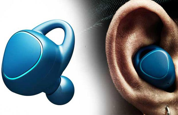 Samsung Gear IconX Fitness Earbuds blue by itself and in a man's ear