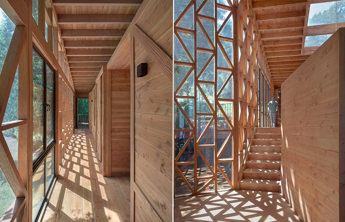 two images of wooden hallways