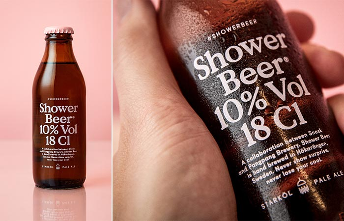Snask Shower Beer by itself and being held by someone