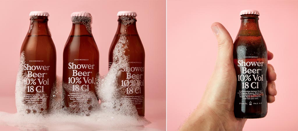Two different views of the Snask Shower Beer