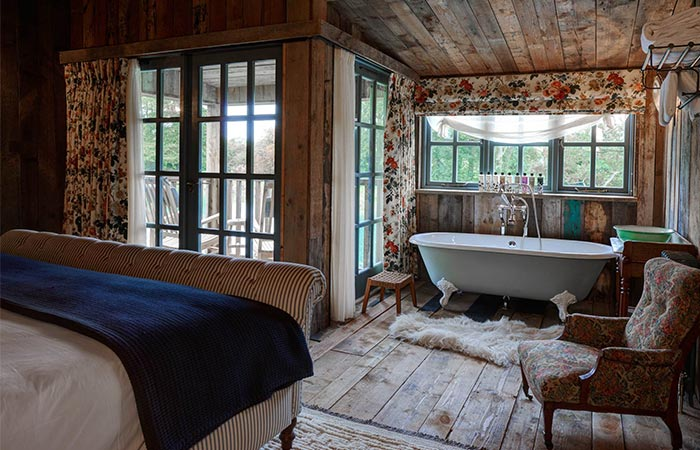 inside the cabin in Soho Farmhouse