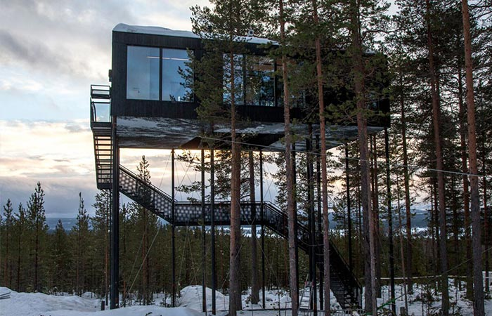 the exterior of a swedish treehotel