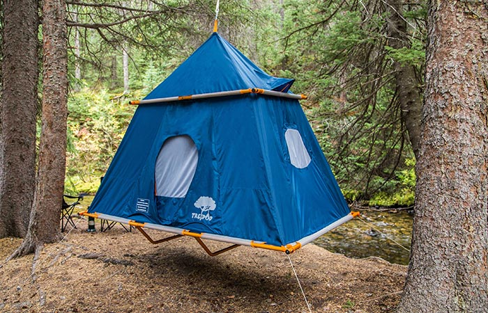 TreePod Suspended Camper Tent hanging in a tree