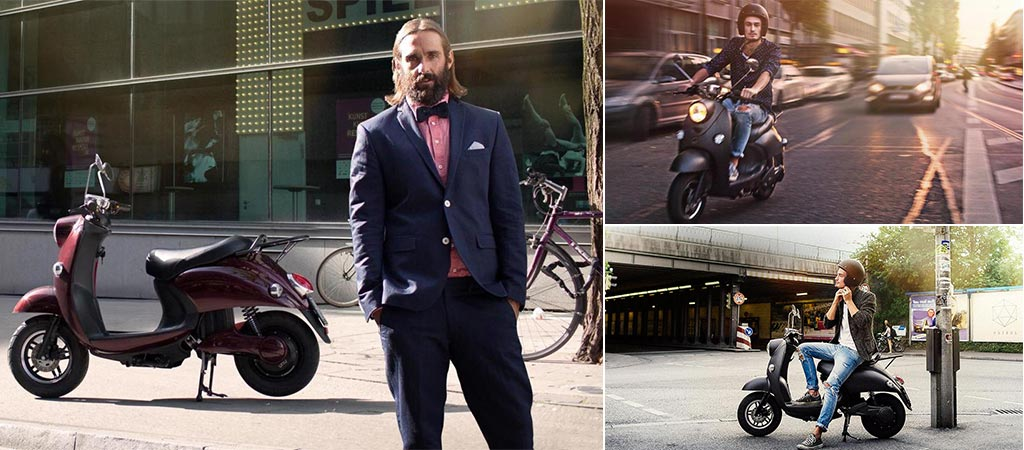 Three different pictures of men with the Unu Scooter