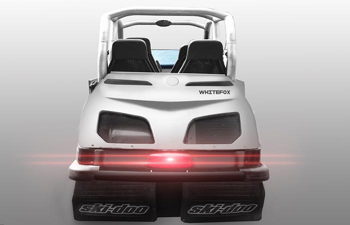 Back view of the Whitefox Snowmobile
