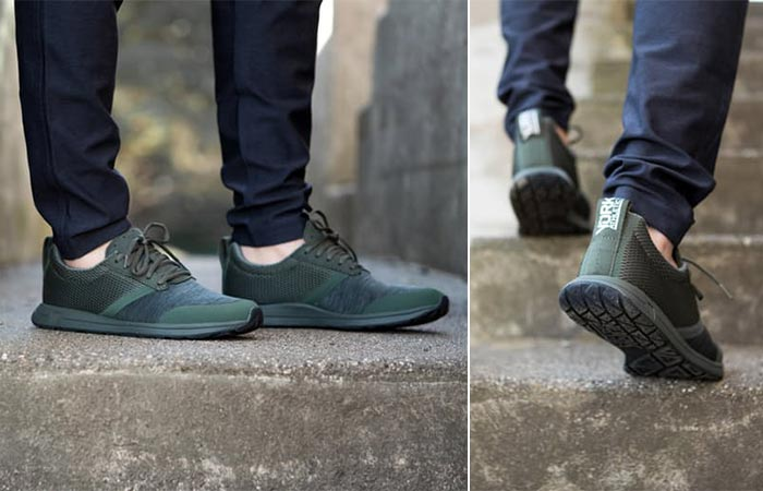 two images of olive athletic shoes