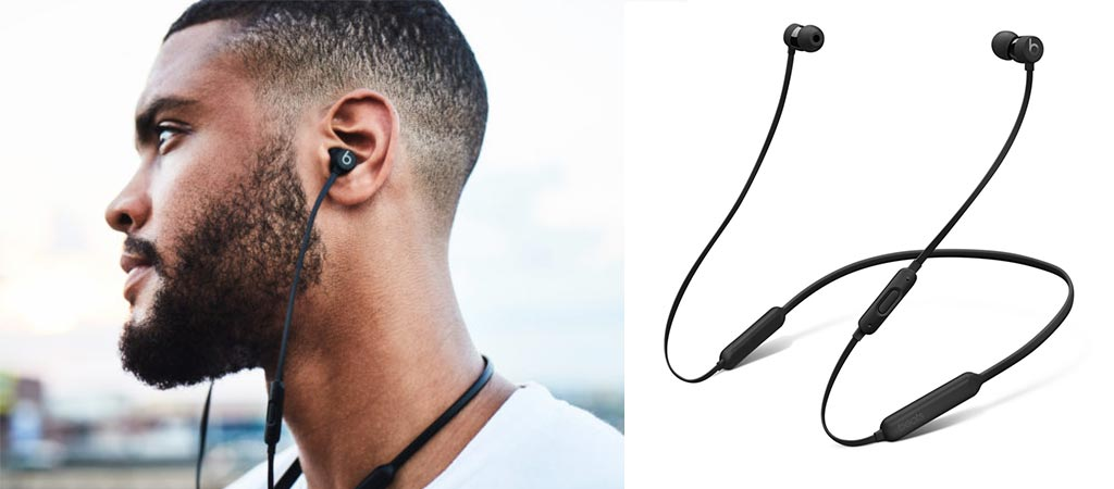 Man wearing the BeatsX Wireless Earphones and a picture of it by itself