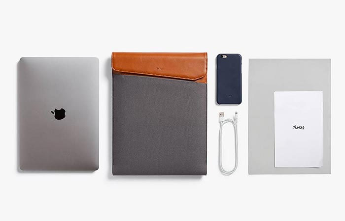 a macbook, Bellroy Laptop Sleeve, documents and smaller items