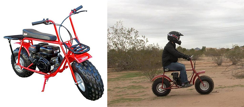 Two different views of the Coleman Powersports Mini Trail Bike