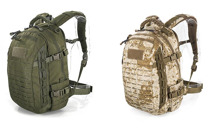Two different colors of the Direct Action Dragon Egg Tactical Backpack