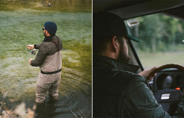 a guy fishing and a guy driving wearing Duckworth WoolCloud Snap Shirt