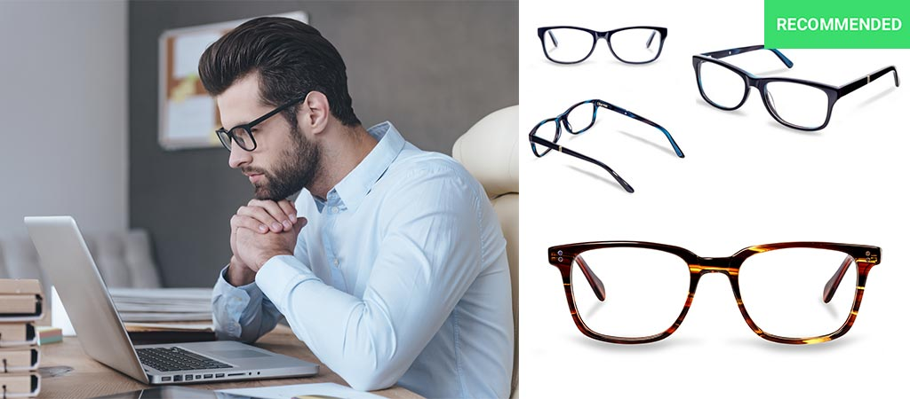 Man wearing EXYRA glasses, as well as 2 other styles.