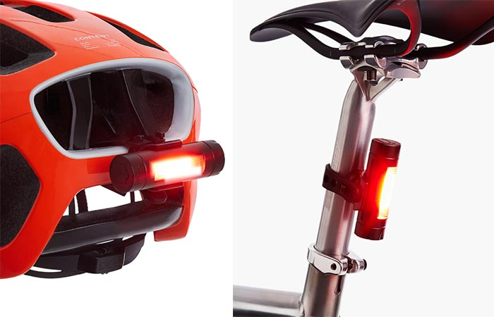 Fabric FLR30 Bicycle Brake Light mounted on a bicycle seat and the back of a helmet