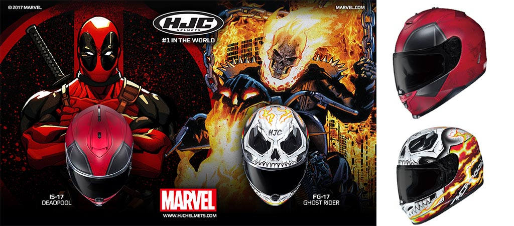 Different views of the Deadpool and Ghost Rider helmets by HJC