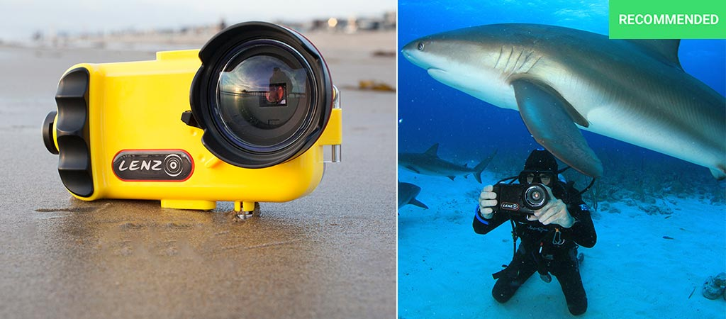 LenzO by itself and a photo of a man using it while swimming with sharks