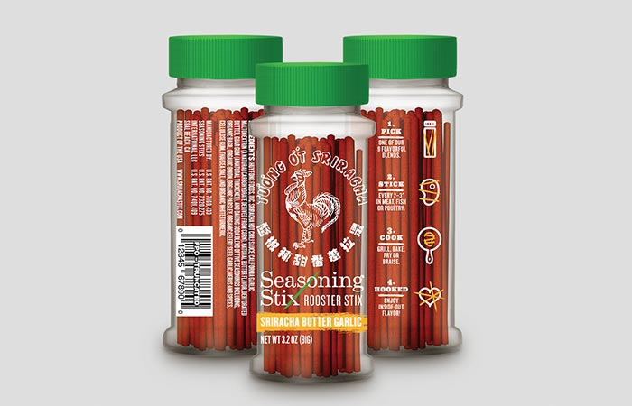 Front and back view of the Sriracha Seasoning Stix bottle
