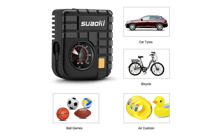 Suaoki 12V Portable Mini Air Compressor different uses