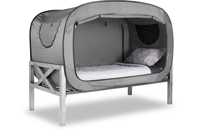 The Bed Tent in grey with the door rolled up